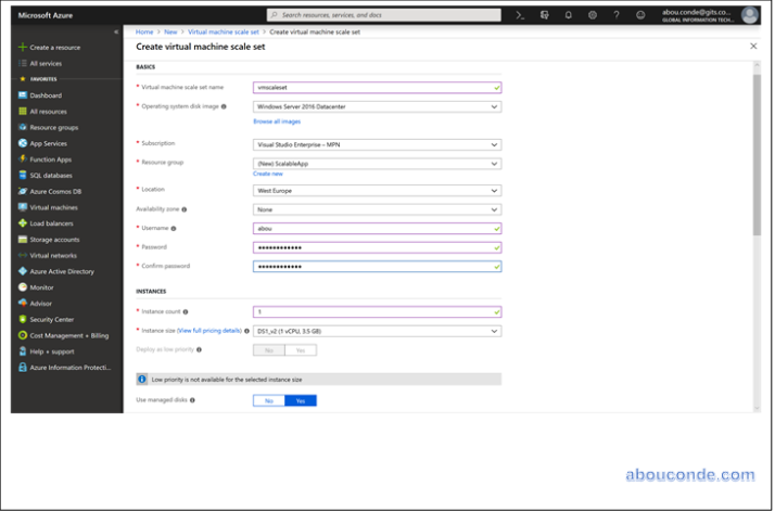 Create a virtual machine scale set in the Azure portal