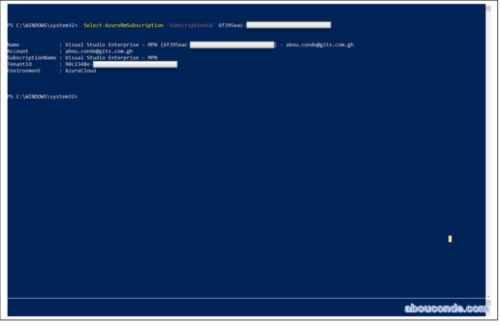 Set Azure PowerShell to a specific Azure Subscription | Abou