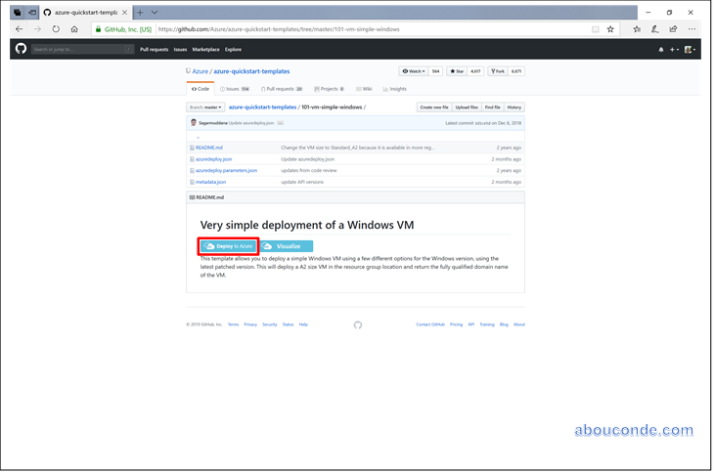 Deploy a 'QuickStart' ARM Template from GitHub | Abou