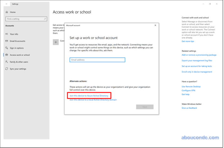 Getting Windows 10 devices under the control of Azure AD