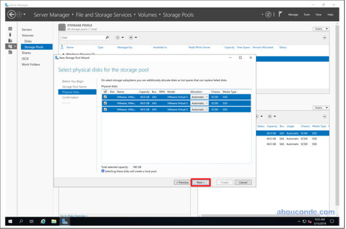 Creating a Storage Pool on Windows Server 2019 | Abou