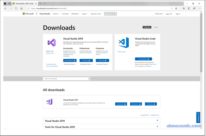 Downloading and Installing Visual Studio 2019 | Abou Conde's Blog